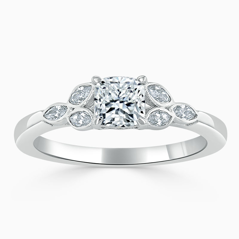 18ct White Gold Cushion Cut Leaf Engagement Ring