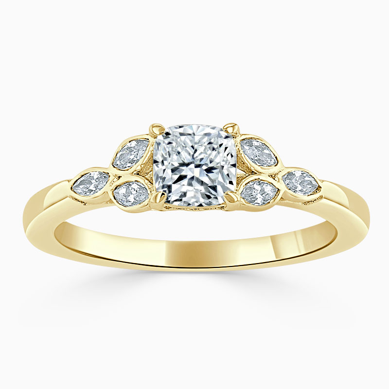 18ct Yellow Gold Cushion Cut Leaf Engagement Ring