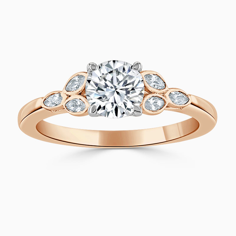 18ct Rose Gold Round Brilliant Leaf Engagement Ring