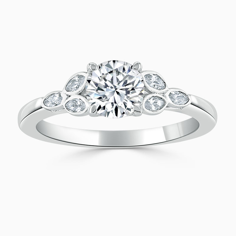 18ct White Gold Round Brilliant Leaf Engagement Ring