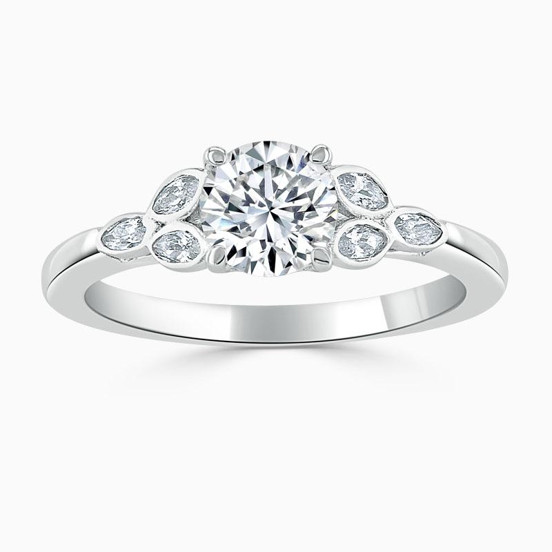 Platinum Round Brilliant Leaf Engagement Ring