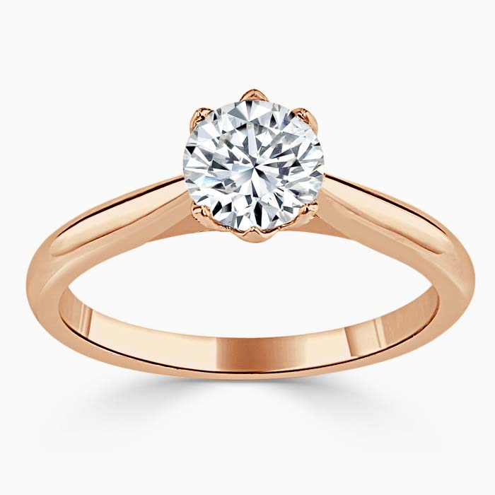 18ct Rose Gold Round Brilliant Lotus Engagement Ring