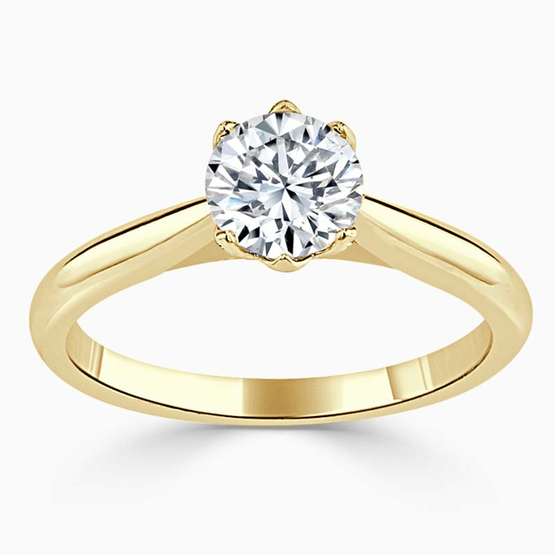 18ct Yellow Gold Round Brilliant Lotus Engagement Ring