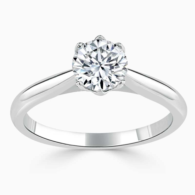Platinum Round Brilliant Lotus Engagement Ring