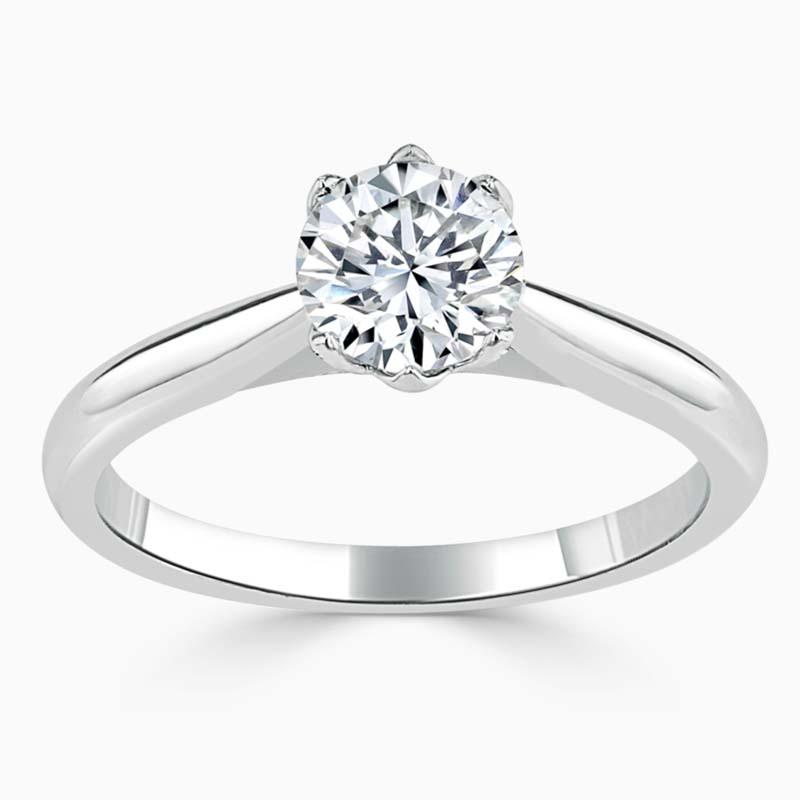 Platinum Round Brilliant Lotus Engagement Ring