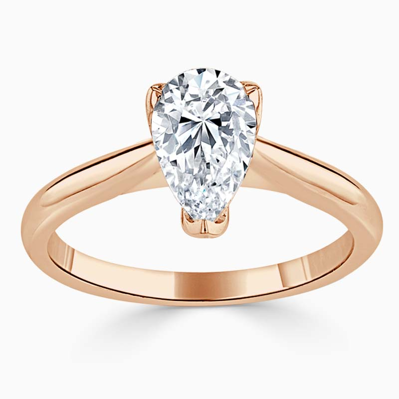 18ct Rose Gold Pear Shape Lotus Engagement Ring