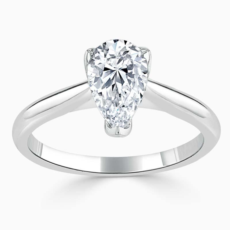18ct White Gold Pear Shape Lotus Engagement Ring