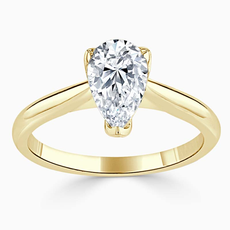 18ct Yellow Gold Pear Shape Lotus Engagement Ring