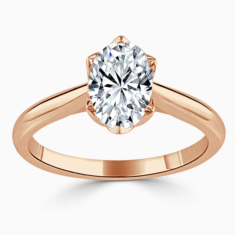 18ct Rose Gold Oval Shape Lotus Engagement Ring