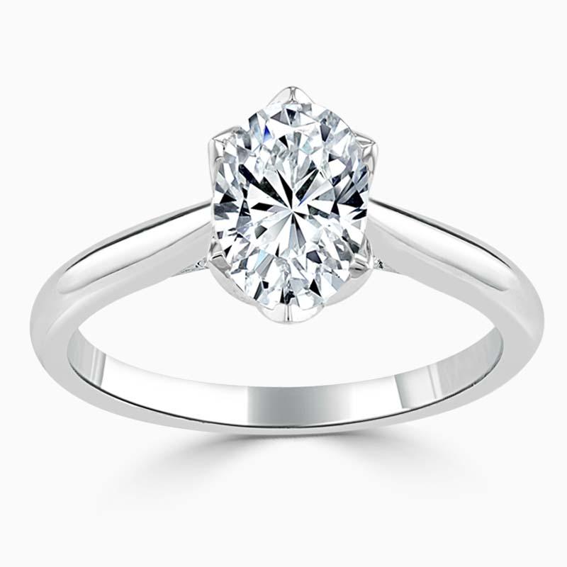 Platinum Oval Shape Lotus Engagement Ring