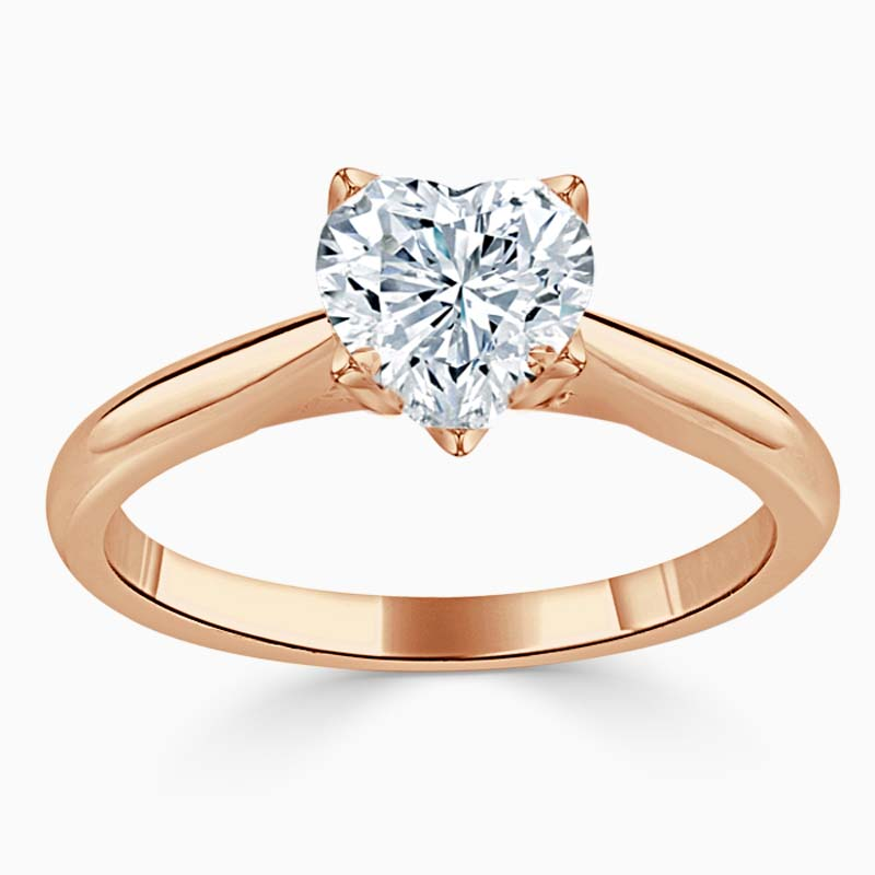 18ct Rose Gold Heart Shape Lotus Engagement Ring