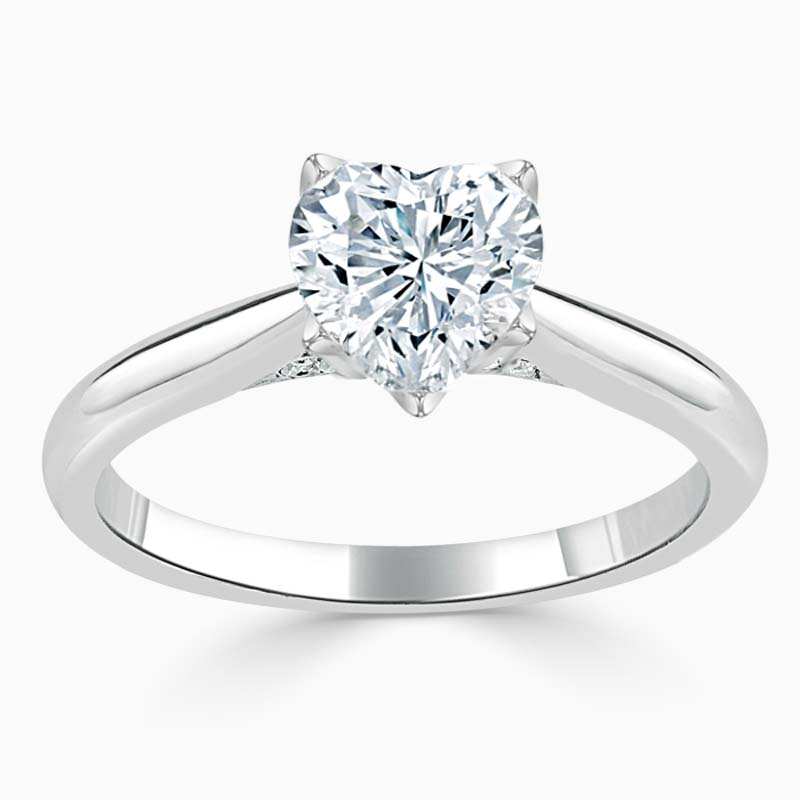 18ct White Gold Heart Shape Lotus Engagement Ring