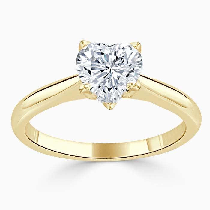 18ct Yellow Gold Heart Shape Lotus Engagement Ring