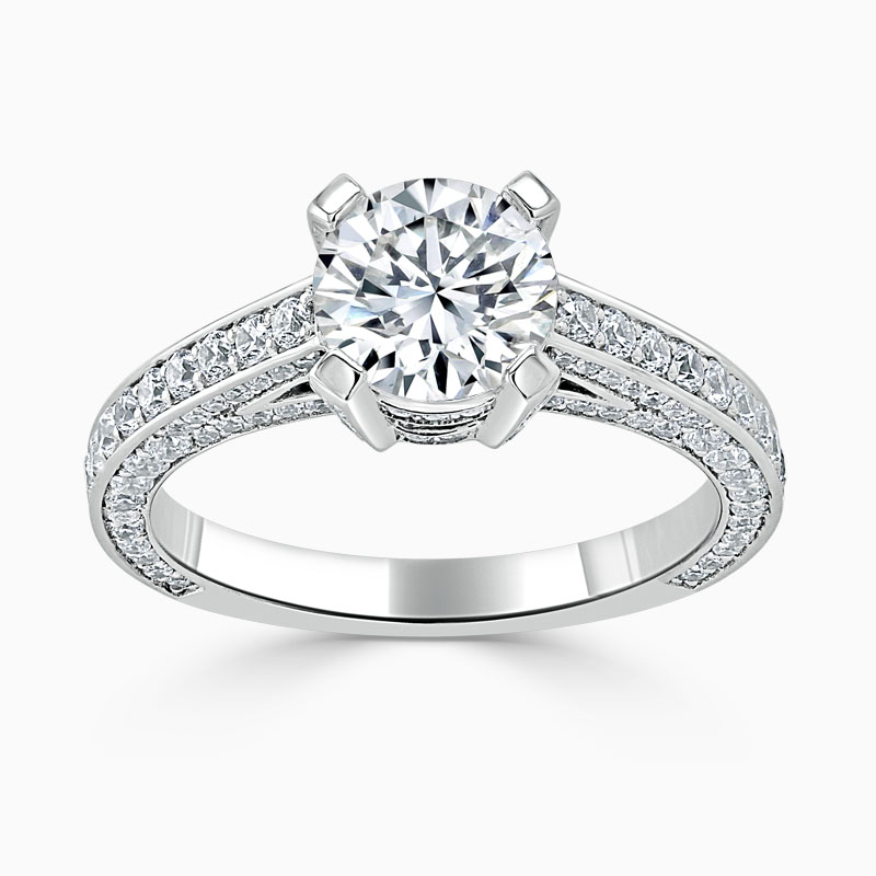 18ct White Gold Round Brilliant Lucent Pavé Set Engagement Ring