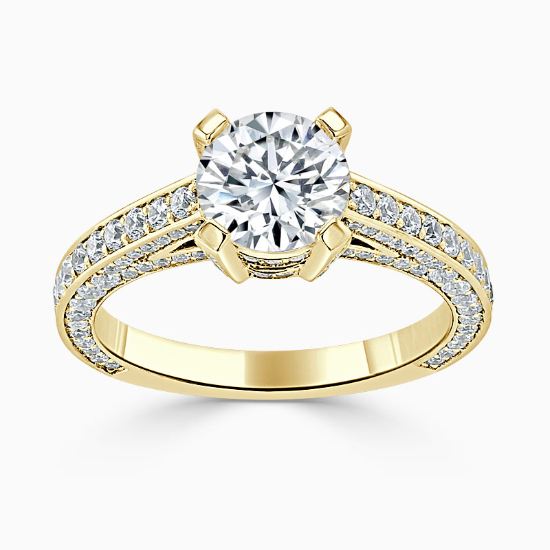18ct Yellow Gold Round Brilliant Lucent Pavé Set Engagement Ring