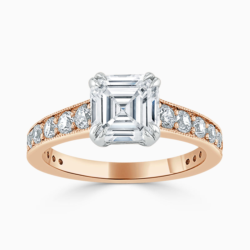 18ct Rose Gold Asscher Cut Milgrain Pavé Engagement Ring