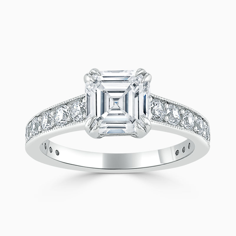 18ct White Gold Asscher Cut Milgrain Pavé Engagement Ring
