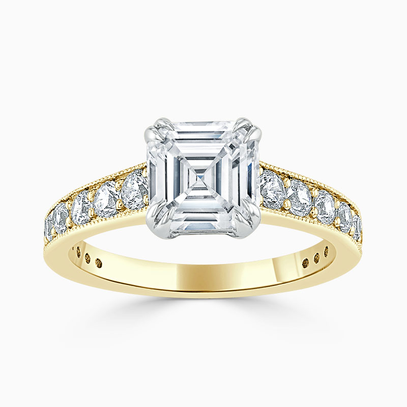 18ct Yellow Gold Asscher Cut Milgrain Pavé Engagement Ring