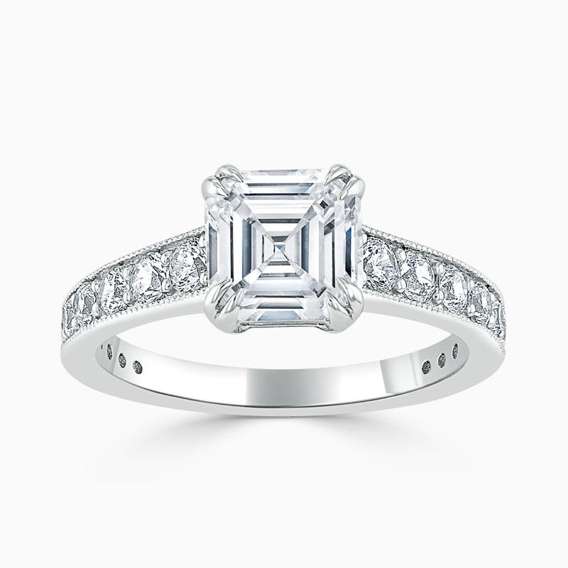 Platinum Asscher Cut Milgrain Pavé Engagement Ring