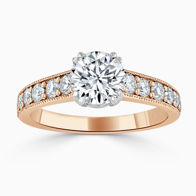 18ct Rose Gold Round Brilliant Milgrain Pavé Engagement Ring