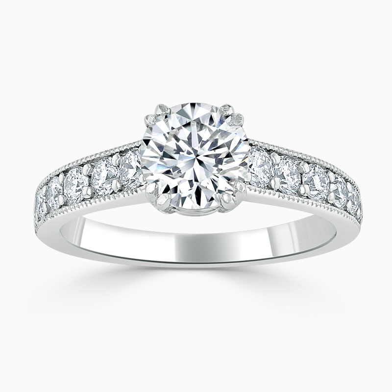 18ct White Gold Round Brilliant Milgrain Pavé Engagement Ring