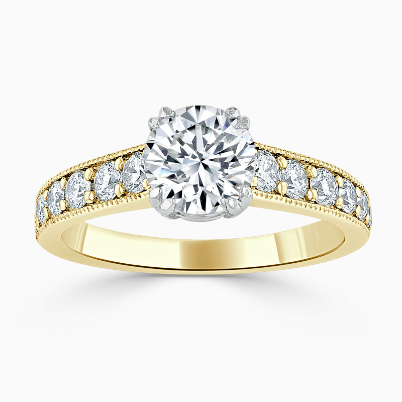 18ct Yellow Gold Round Brilliant Milgrain Pavé Engagement Ring