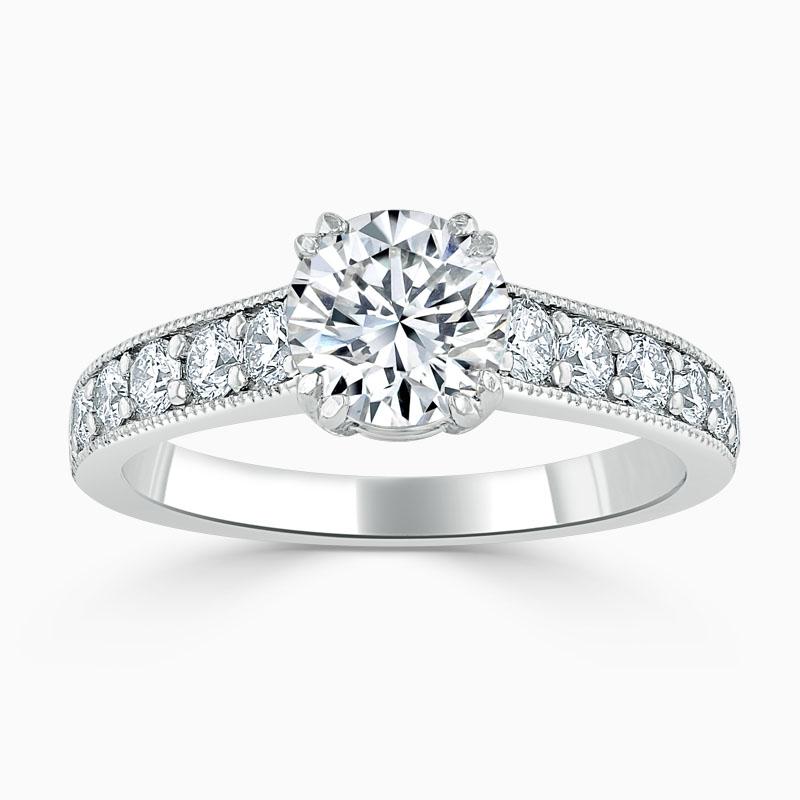 Platinum Round Brilliant Milgrain Pavé Engagement Ring