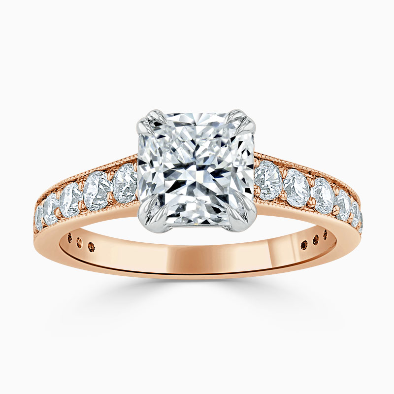 18ct Rose Gold Cushion Cut Milgrain Pavé Engagement Ring
