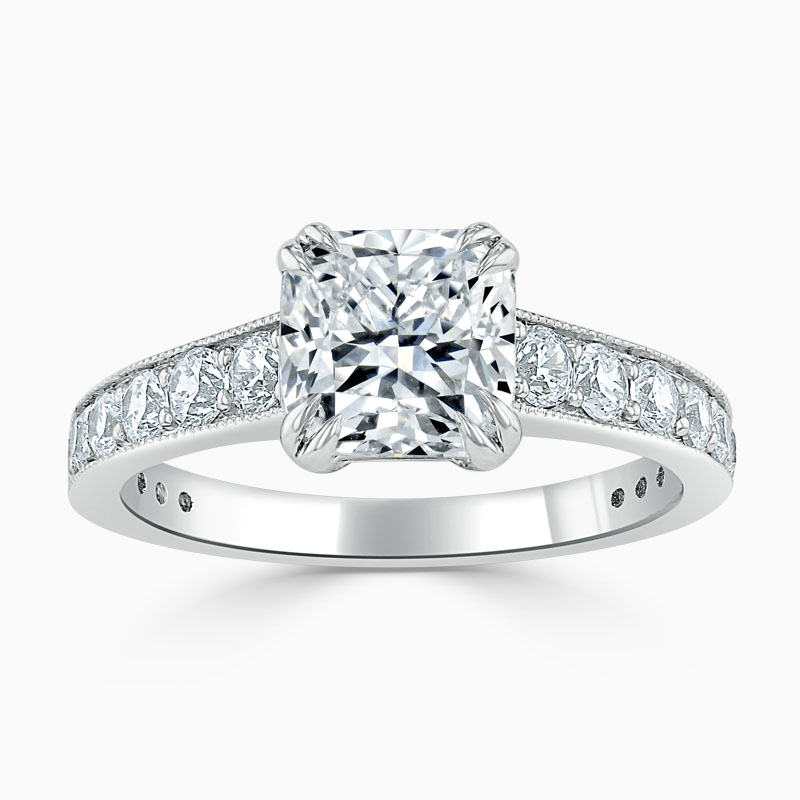 18ct White Gold Cushion Cut Milgrain Pavé Engagement Ring