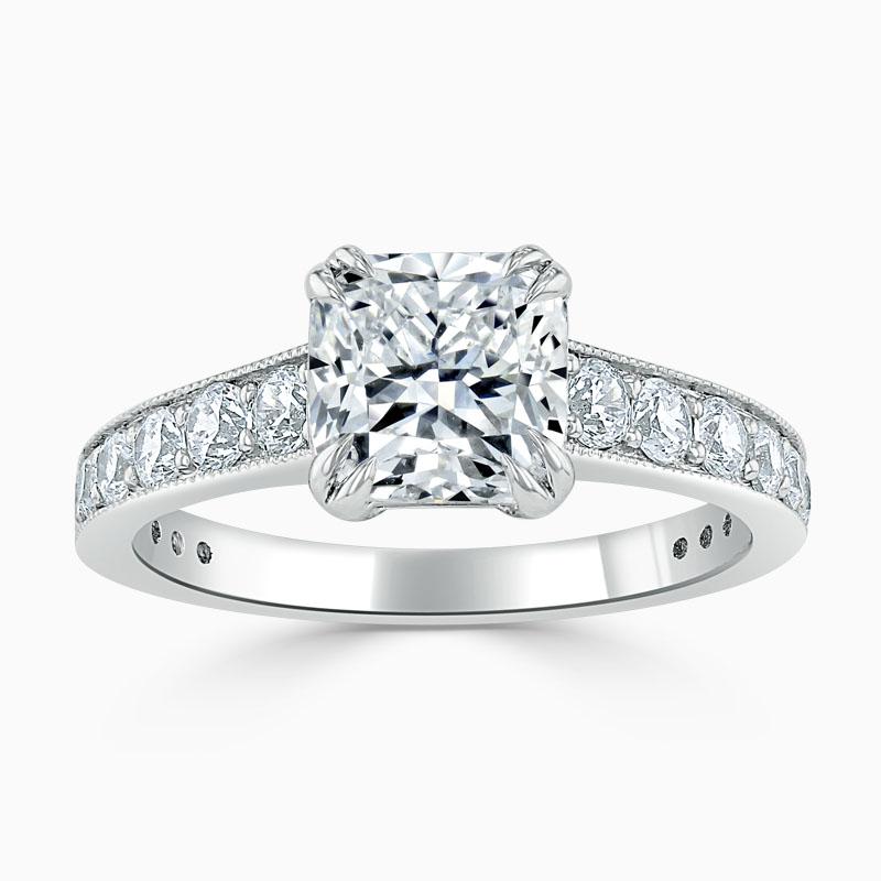 18ct White Gold Cushion Cut Milgrain Pavé Engagement Ring