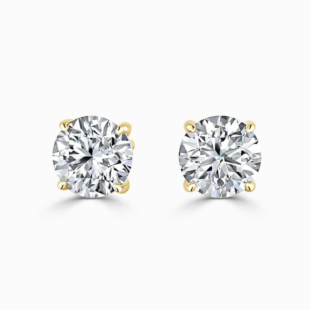 18ct Yellow Gold Round Brilliant Single Stone Stud Diamond Earrings