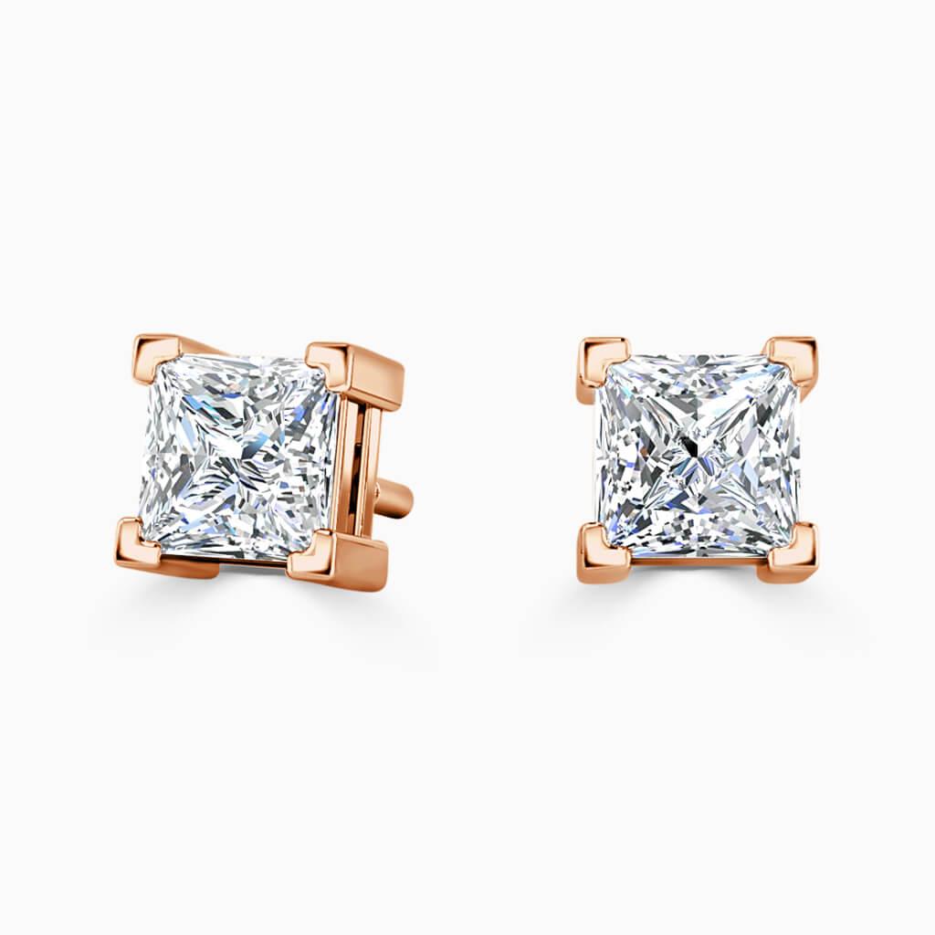 18ct Rose Gold Princess Cut Single Stone Stud Diamond Earrings