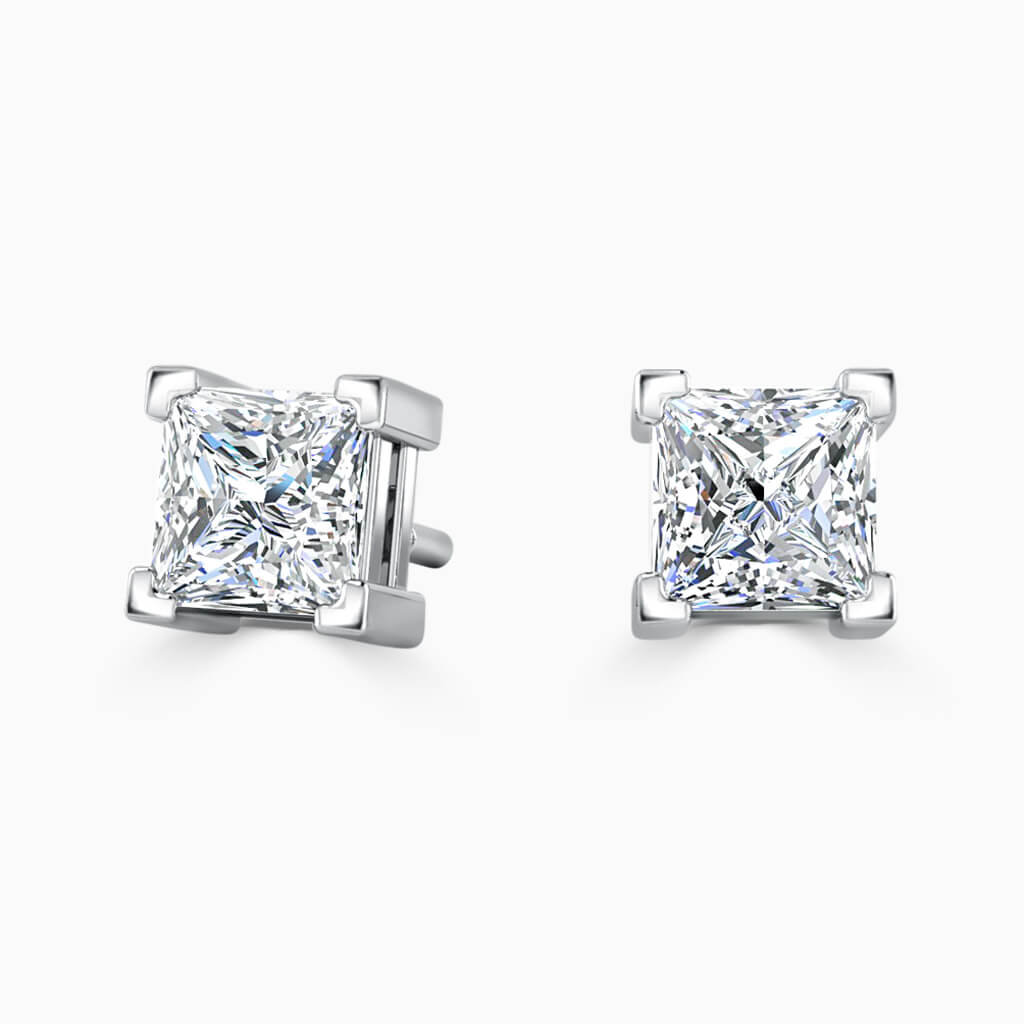 18ct White Gold Princess Cut Single Stone Stud Diamond Earrings