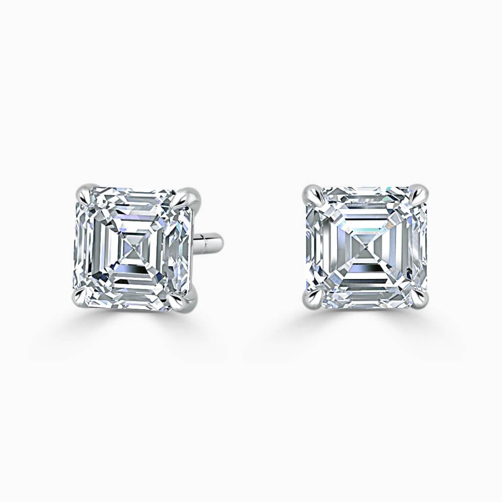 18ct White Gold Asscher Cut Single Stone Stud Diamond Earrings