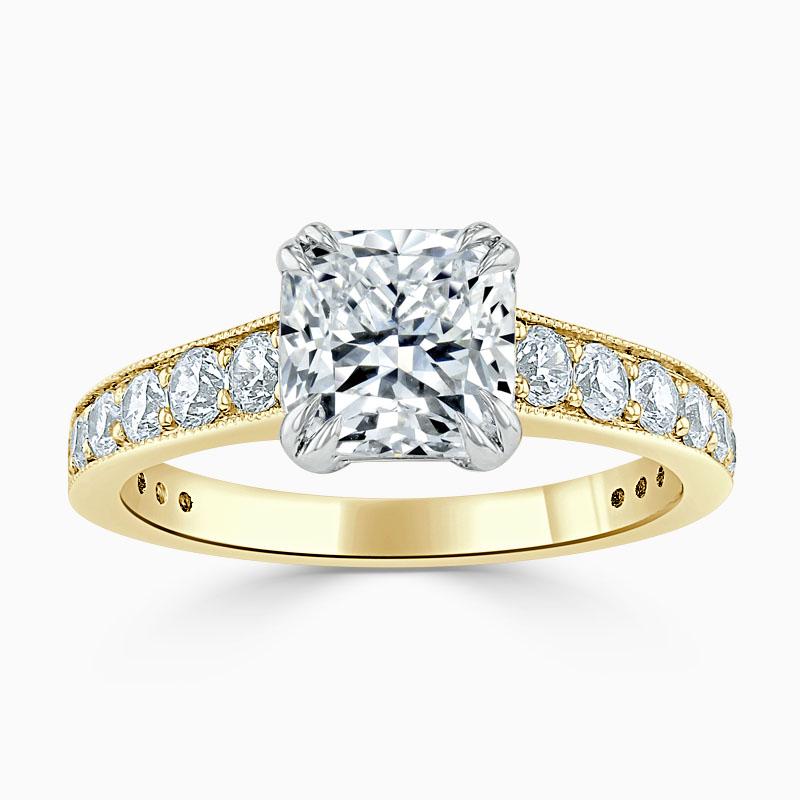 18ct Yellow Gold Cushion Cut Milgrain Pavé Engagement Ring