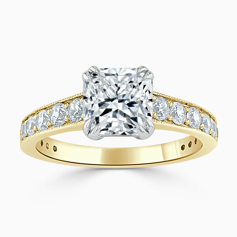 18ct Yellow Gold Cushion Cut Milgrain Pavé Engagement Ring