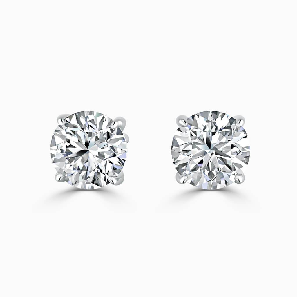 18ct Rose Gold Emerald Cut Single Stone Stud Diamond Earrings