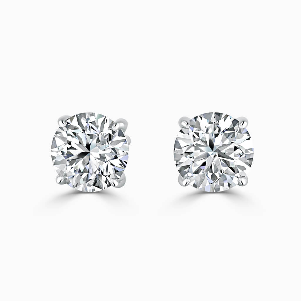 18ct White Gold Emerald Cut Single Stone Stud Diamond Earrings