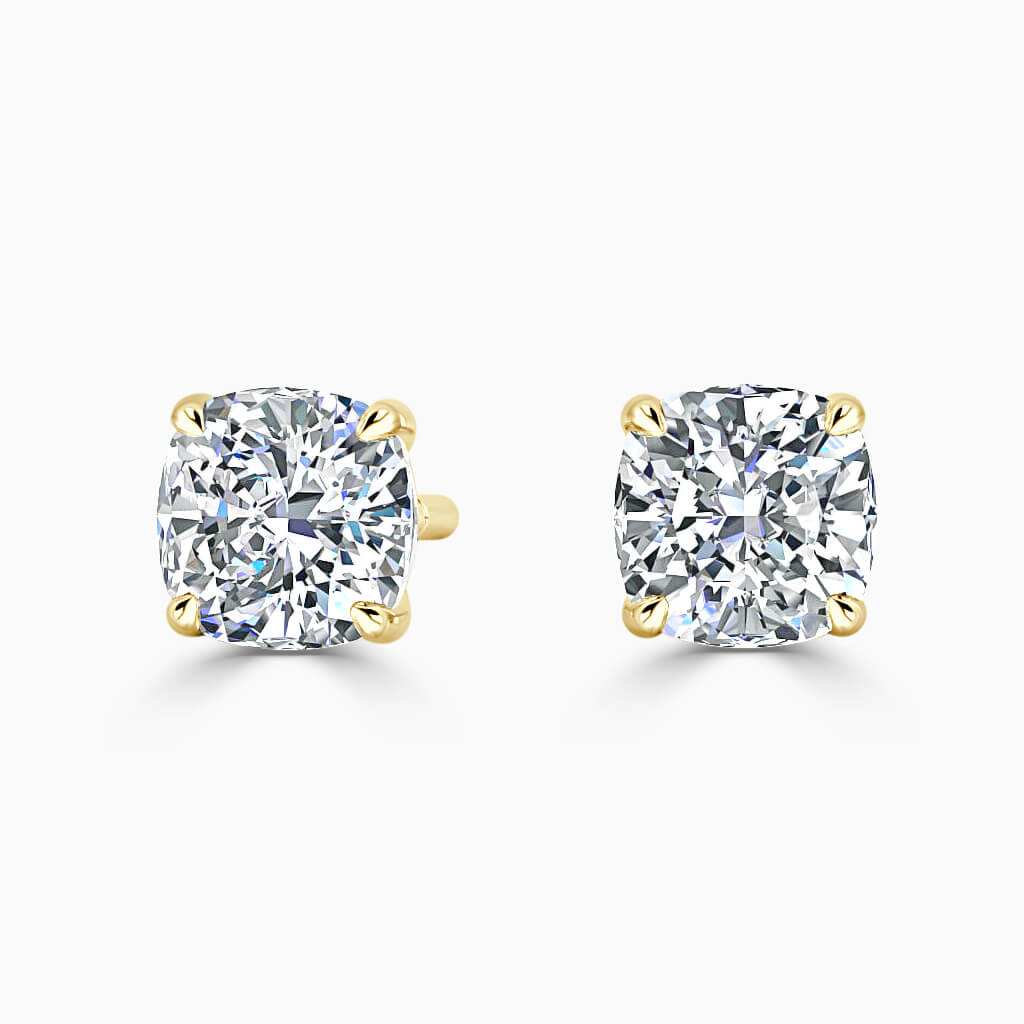 18ct Yellow Gold Cushion Cut Single Stone Stud Diamond Earrings