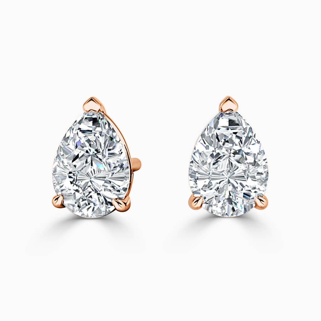 18ct Rose Gold Pear Shape Single Stone Stud Diamond Earrings