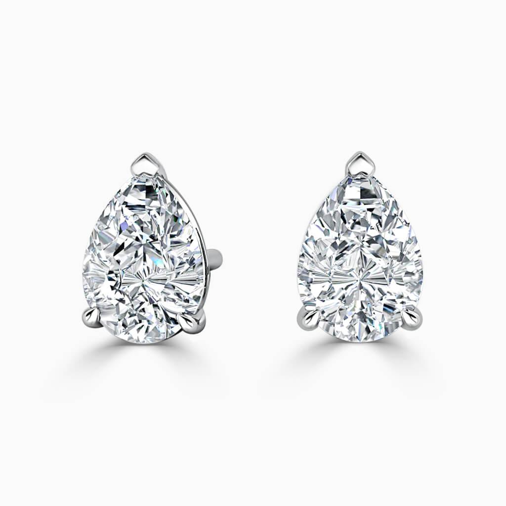 18ct White Gold Pear Shape Single Stone Stud Diamond Earrings
