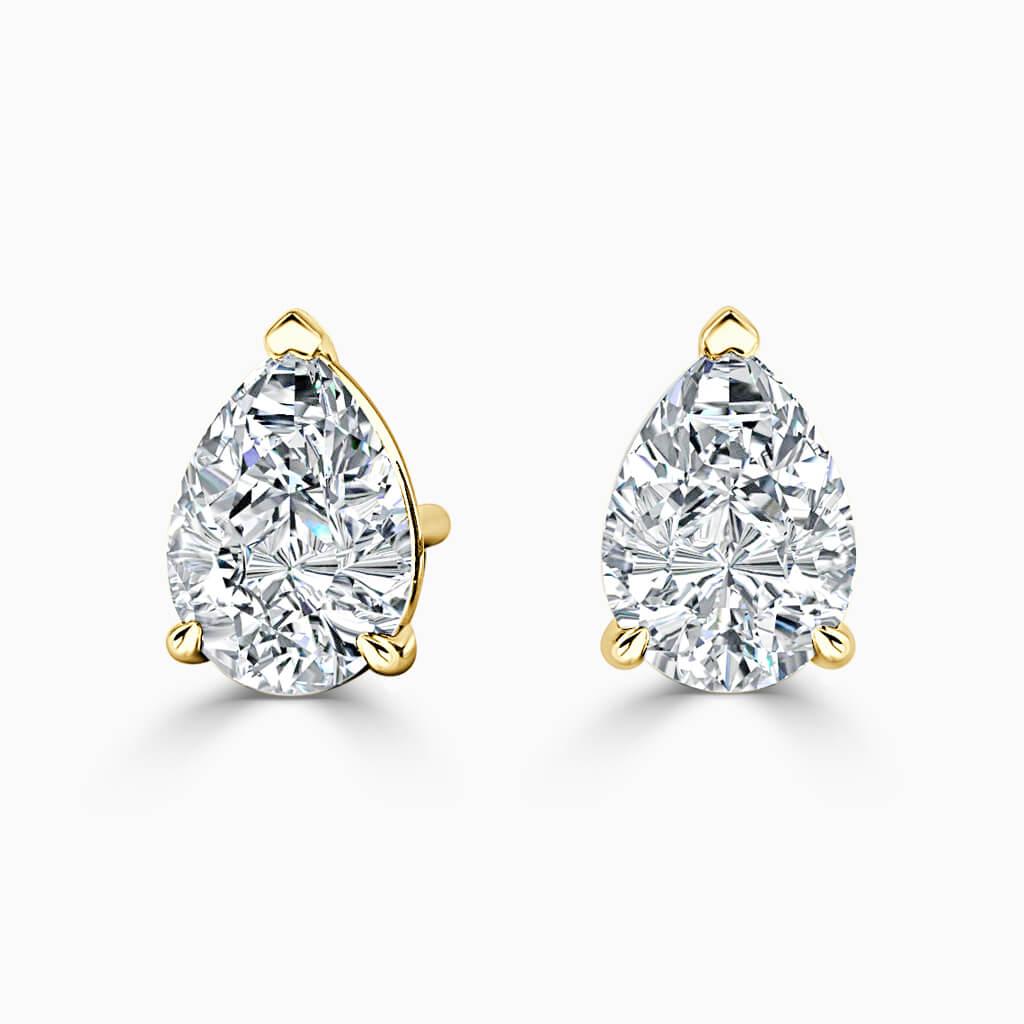 18ct Yellow Gold Pear Shape Single Stone Stud Diamond Earrings
