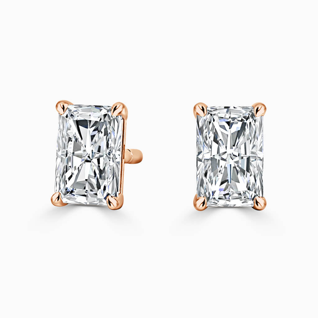 18ct Rose Gold Radiant Cut Single Stone Stud Diamond Earrings