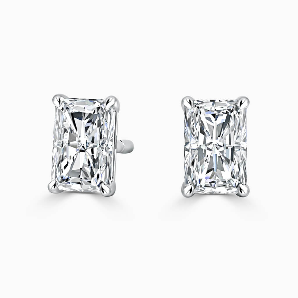 18ct White Gold Radiant Cut Single Stone Stud Diamond Earrings