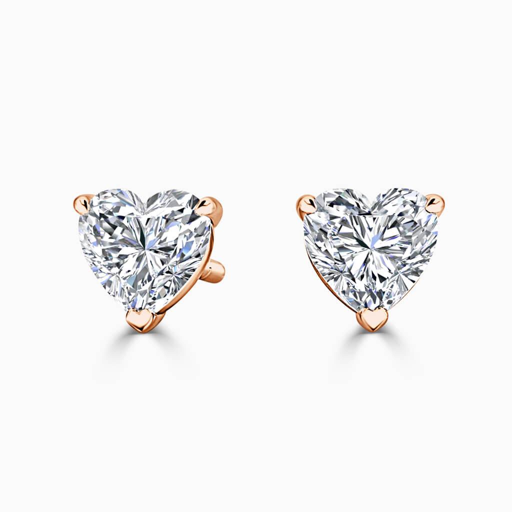 18ct Rose Gold Heart Shape Single Stone Stud Diamond Earrings