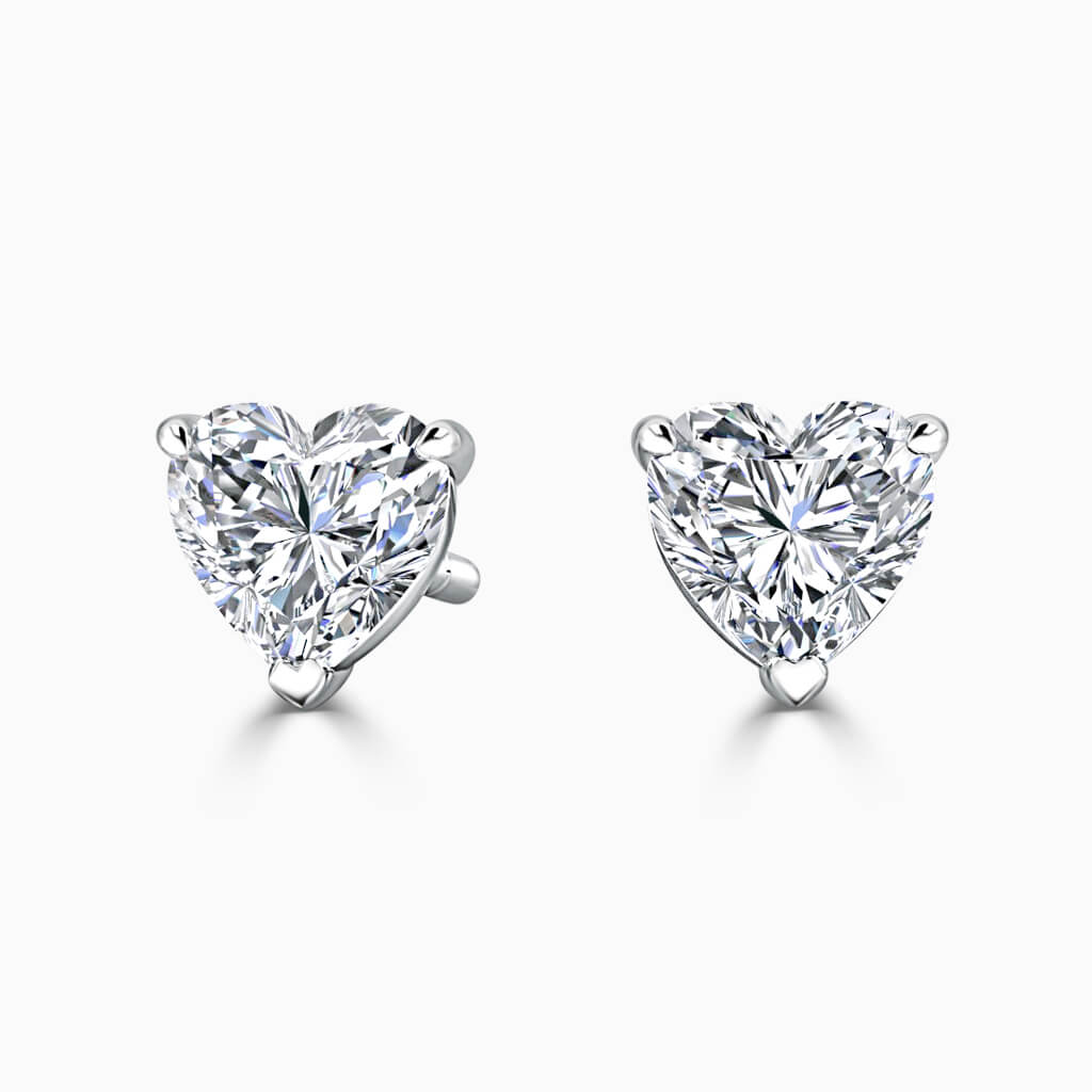 18ct White Gold Heart Shape Single Stone Stud Diamond Earrings