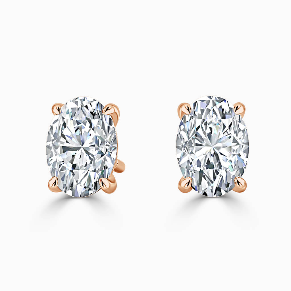 18ct Rose Gold Oval Shape Single Stone Stud Diamond Earrings