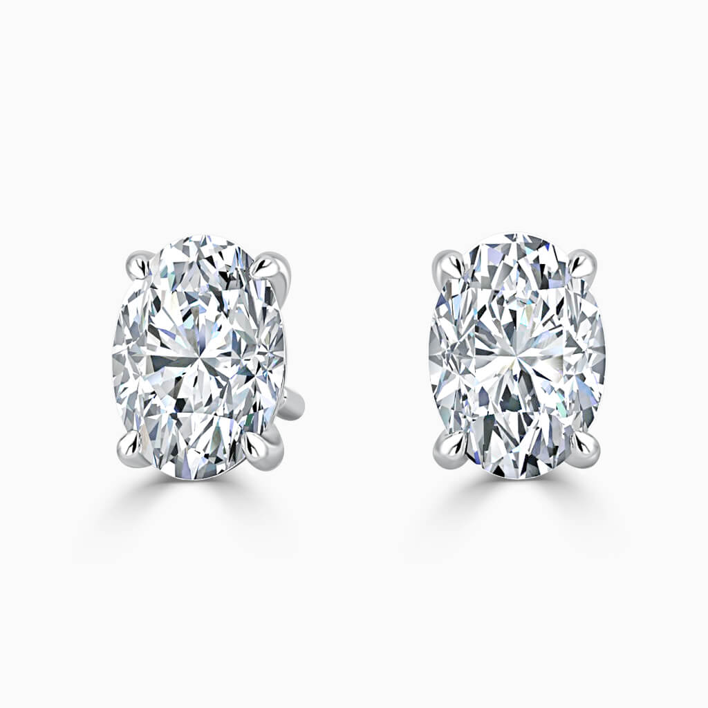 18ct White Gold Oval Shape Single Stone Stud Diamond Earrings
