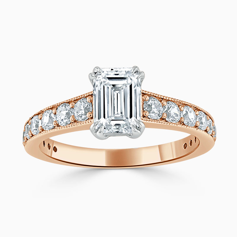 18ct Rose Gold Emerald Cut Milgrain Pavé Engagement Ring