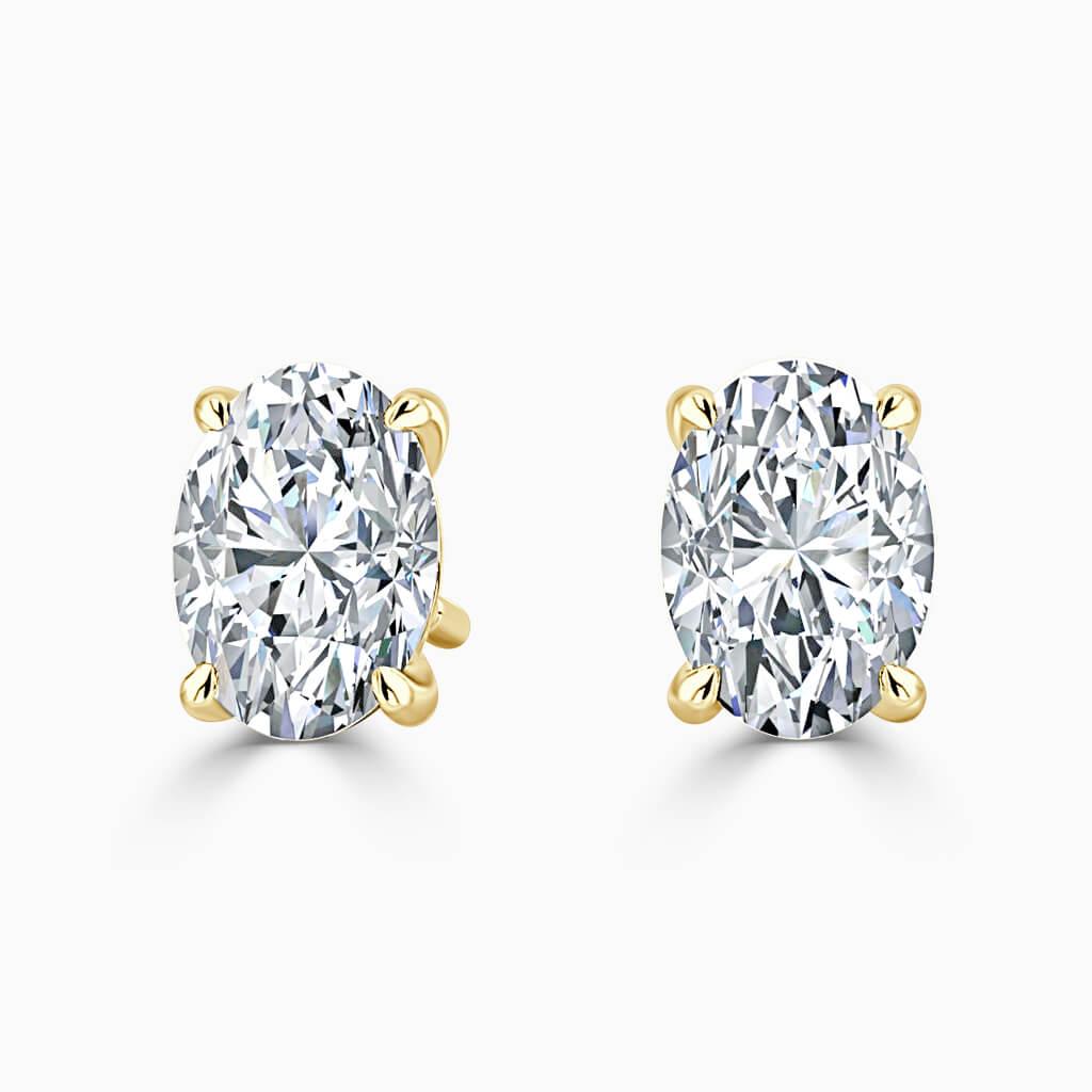18ct Yellow Gold Oval Shape Single Stone Stud Diamond Earrings